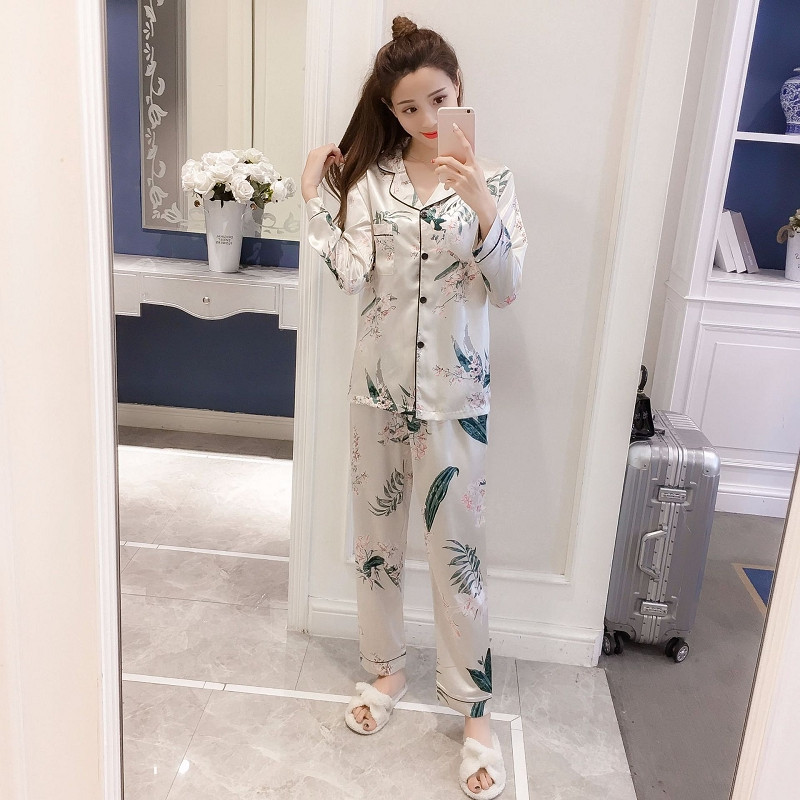 Fresh leaf pyjamas women Long sleeve trousers Comfortable and silky pajamas homewear women sleepwear(China)