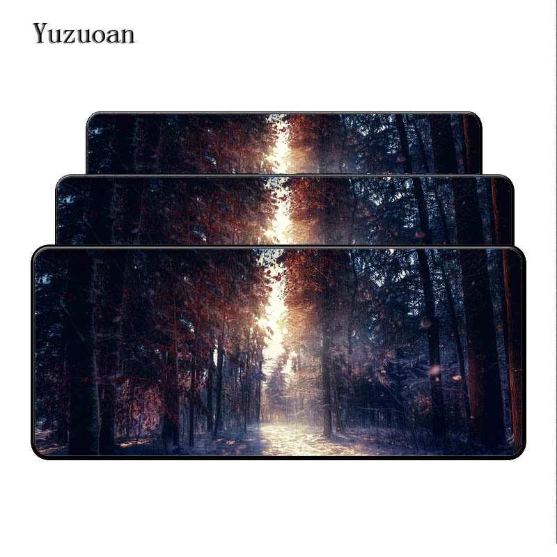 2019 New Style Yuzuoan Large Lock Edge Red Leaves Mousepad Comfort Soft Rubber Mice Play Mat Computer Desk Mouse Pad For Optical Laster Pad Moderate Price