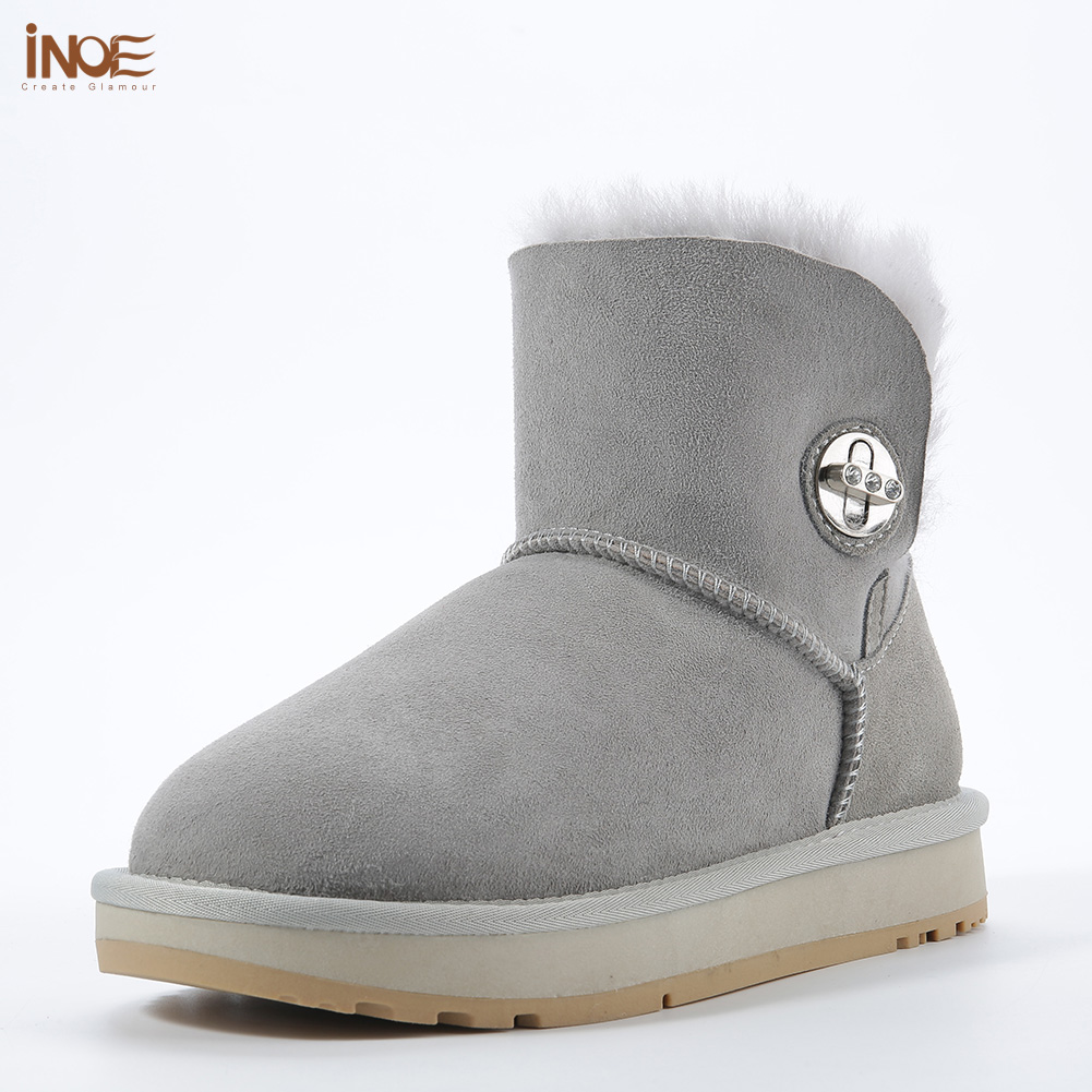 INOE new sheepskin leather wool fur lined suede women ankle snow boots with crystal button women