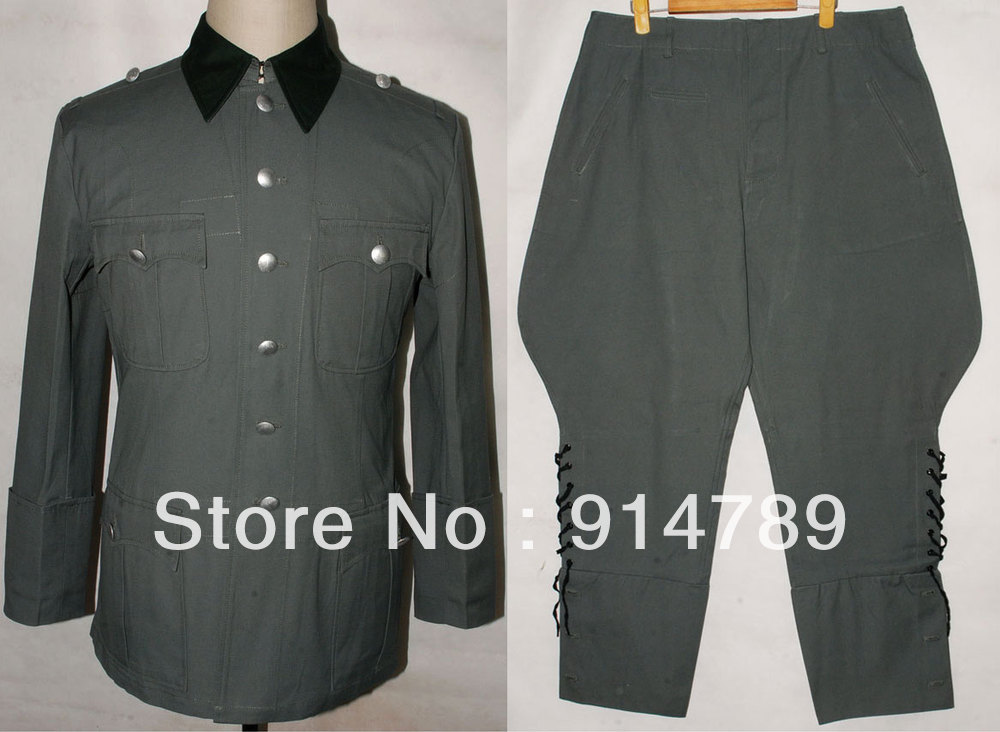 WWII GERMAN SUMMER M36 OFFICER COTTON FIELD TUNIC & BREECHES UNIFORM IN SIZES-32155