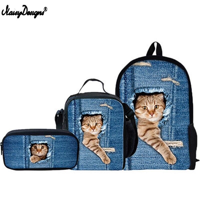 3 Pcs Set Cute Cat Backpack Animal Denim Backpacks for Children Pencil Bag Kids School Bag Boys Girls Travel Backpack Childrens