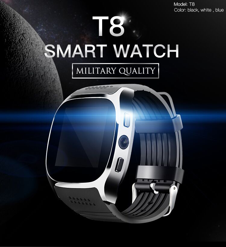 NEW T8 Bluetooth Smart Watch Support SIM TF Card LBS Locating With 0 3mp Camera Smartwatch