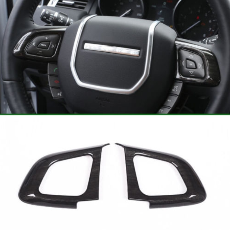2x Car Interior Mouldings ABS Carbon Fiber Color Steering Wheel Button Trim Covers For Land Rover Range Rover Evoque Car Styling