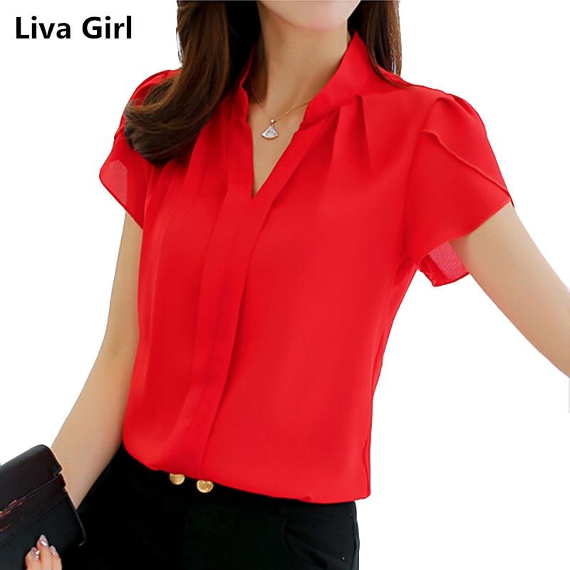 2018 Brand women body blouse shirt short sleeve V neck white red pink blue summer autumn female clothing korean work wear tops ...