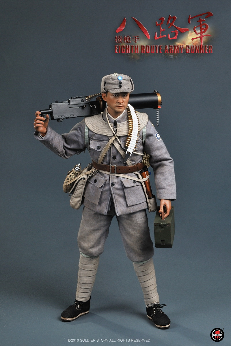 1/6 scale WWII militar figure doll China 's Eighth Route Army Machine gunner 12