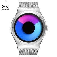 SK Rotating Gradient Color Watch For Women Unique Design Mesh Band Ladies Quartz Wristwatch Sport Waterproof