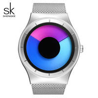SK Rotating Gradient Color Watch For Women Unique Design Mesh Band Ladies Quartz Wristwatch Sport Waterproof