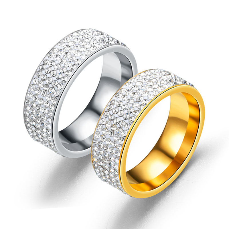 Fashion Couples Rings Women Rose Gold Color Five Rows Crystal Cubic Zirconium Wedding &Engagement Ring for Women jewelry Gifts