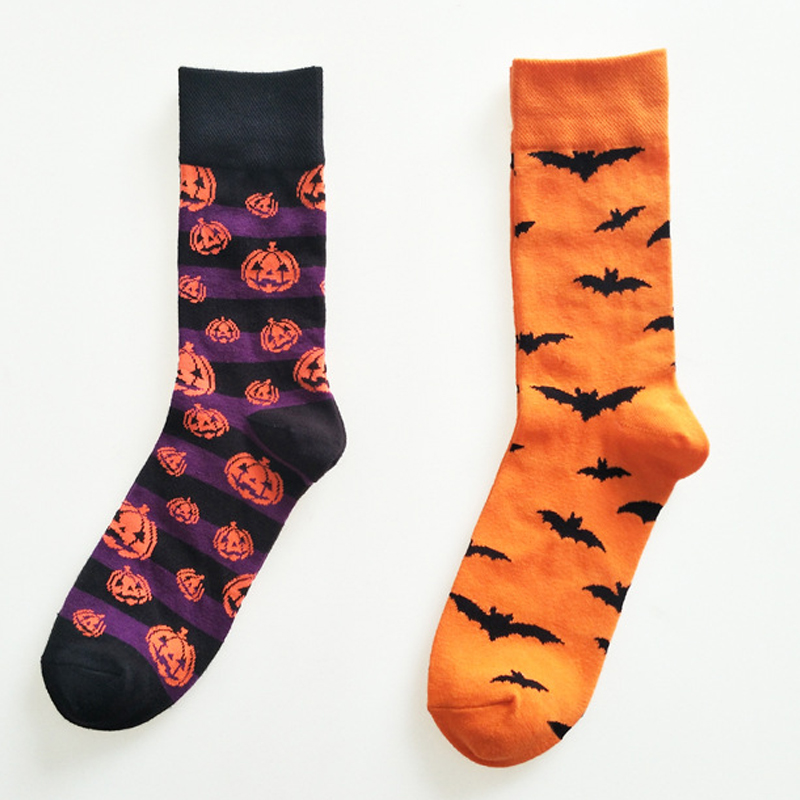 Halloween Bats and Pumpkin Pattern Knee-High Socks Harajuku Style Fashion High Quality Party Nolvety Cosplay Cotton Socks