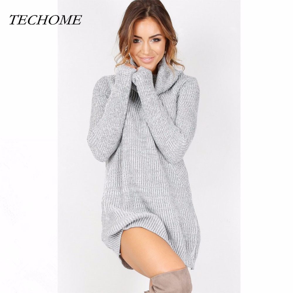 2018 New Women Autumn Winter Sweater Dress Fashion Casual Turtleneck Sexy Thin Slim Sweater Tops Long Sleeves Pullover Dresses