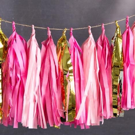 20 sheets(Fuchsia,Pink,Gold) Tassel Garland Tissue Paper Fringe Bunting Wedding Nursery Baby Shower First Birthday Party Decor