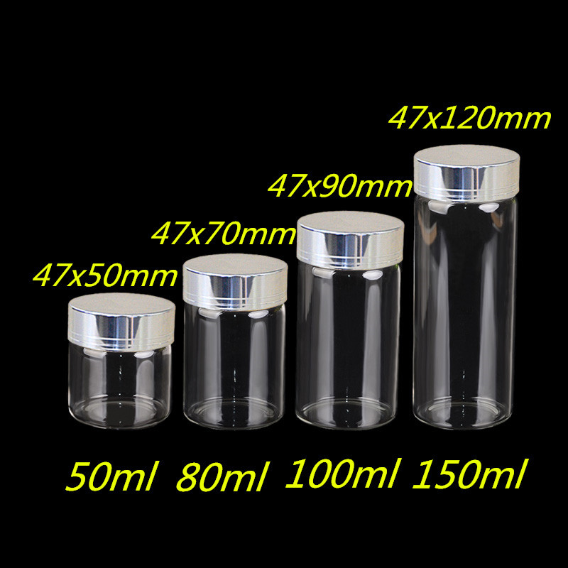 50ml 80ml 100ml 150ml Large Glass Bottles with Silver Screw Caps Empty Spice Bottles Jars Gift Crafts Vials5