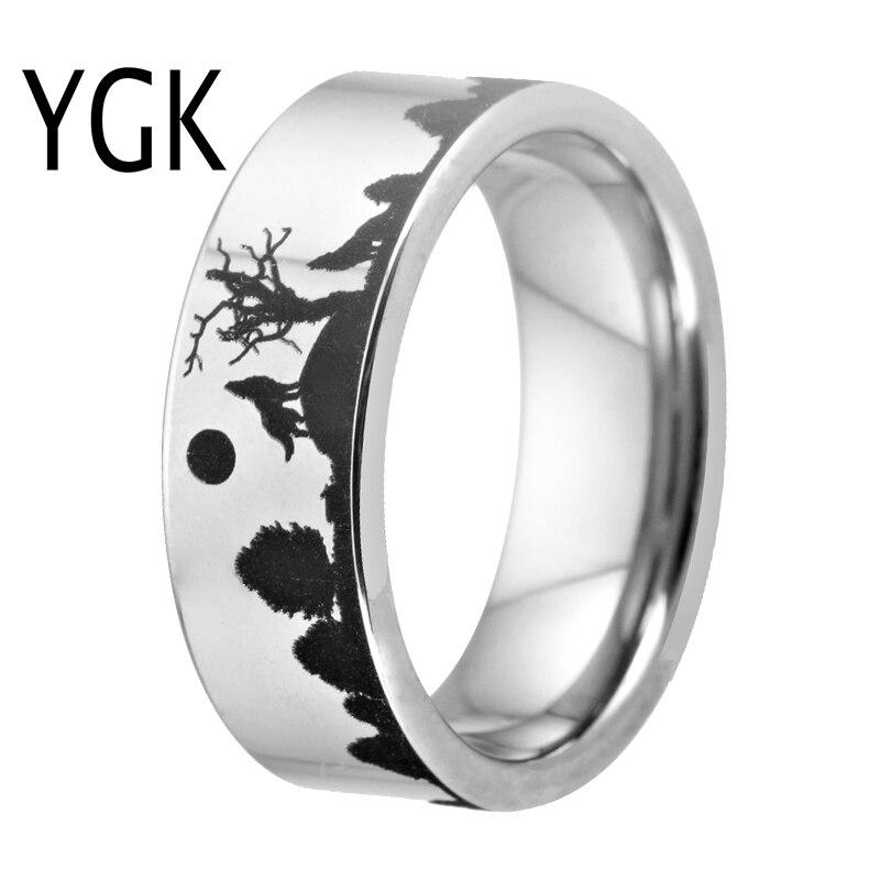 8mm Wolf Design Wolfram Ring Silber Farbe Fur Manner Klassische