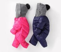 Winter Baby Boy Girl Rompers Jumpsuit Solid Color Hooded Keep Warm Parkas Boys Girls Jumpsuit High