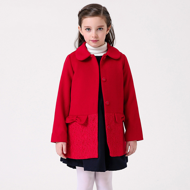 Girls Coat Winter Cashmere Red Jacket For girls Brand Wool Coat Girl Princess Coat Children's Clothes 2017 Woolen Outerwear