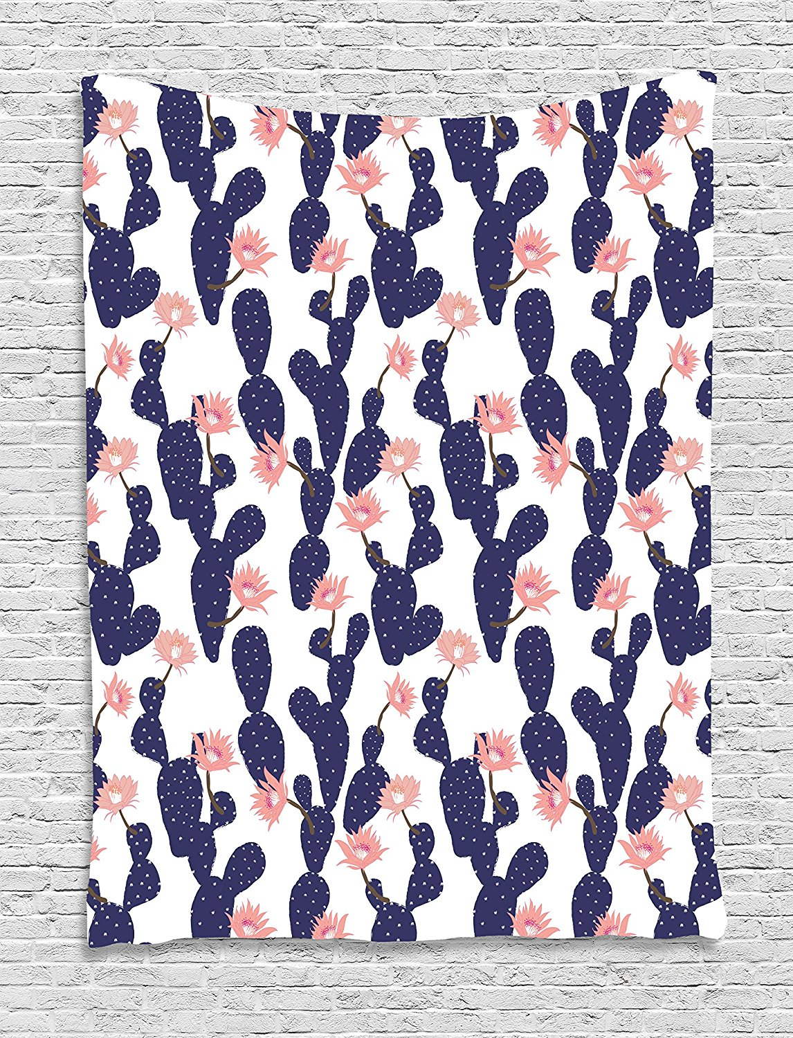 Navy And Blush Tapestry Cactus Tropical Garden Theme