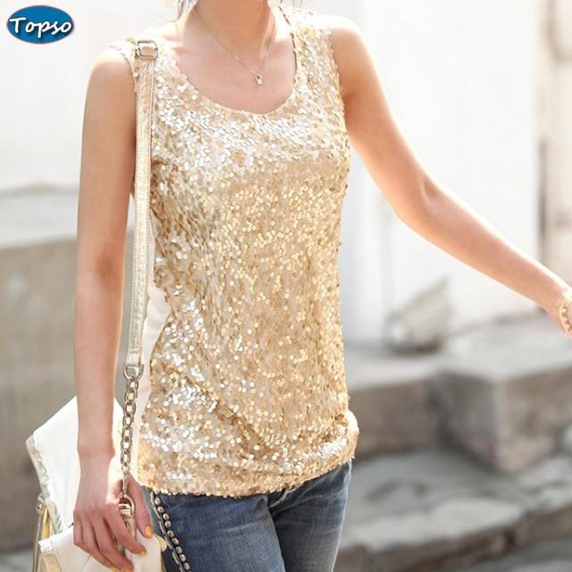 315e3d2508172 New 2016 Women s Summer Tank Top Women Cotton Blended Shining Bling  Sequined Tops Sleeveless T-Shirt Vest Black Gold S~4XL