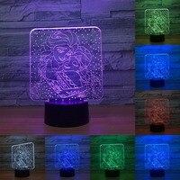 אורות פיות קפוא המלכה מדהים חזותי לילה מגע מתג מנורת מנורת שולחן ליד מיטת מנורת מנורת לילה שינוי צבע 3D IY803123