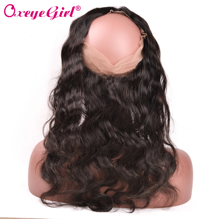 100 Human Hair Pre Plucked 360 Lace Frontal Closure With Baby Hair Brazilian Hair Body Wave