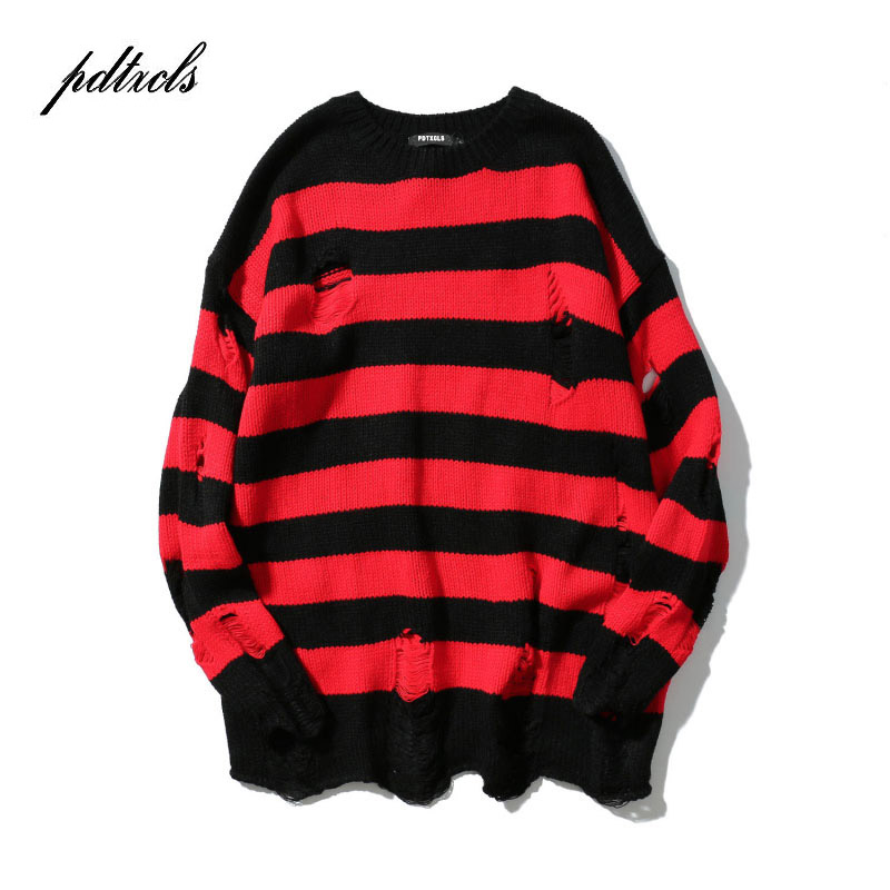 2019 New Ripped Stripe Knit Sweaters Men Hip Hop Hole Casual Pullover Sweater Male Fashion Loose Long Sleeve Sweaters Red Black