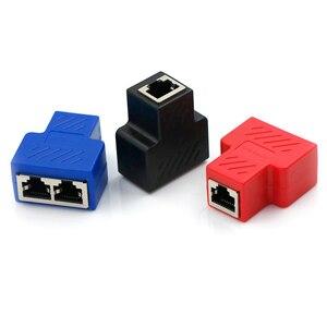 Image 1 - Adaptador divisor RJ45, 1 a 2, enchufe Ethernet Dual, conexiones de Red, adaptador divisor para placa PCB, soldadura, Azul, Negro, Rojo