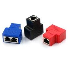 RJ45 Splitter Adapter 1 Tot 2 Dual Lan Ethernet Socket Netwerkverbindingen Splitter Adapter Voor Printplaat Lassen Blauw Zwart rood