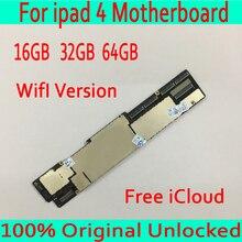 Wifi версия для iPad 4 материнская плата с системой IOS, 100% оригинал разблокирована для iPad 4 материнская плата с бесплатным iCloud, с полным чипом