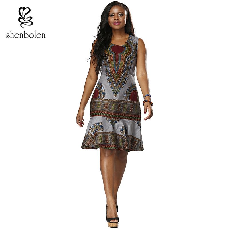 African Dresses For Women Dashiki fashion dress print High Quality Sewing Sleeveless fishtail Hem Traditional Clothes