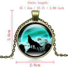 Vintage Chain Necklace Howling wolf Art Glass Round Dome Pendant statement jewelry necklaces & pendants  for Women gift