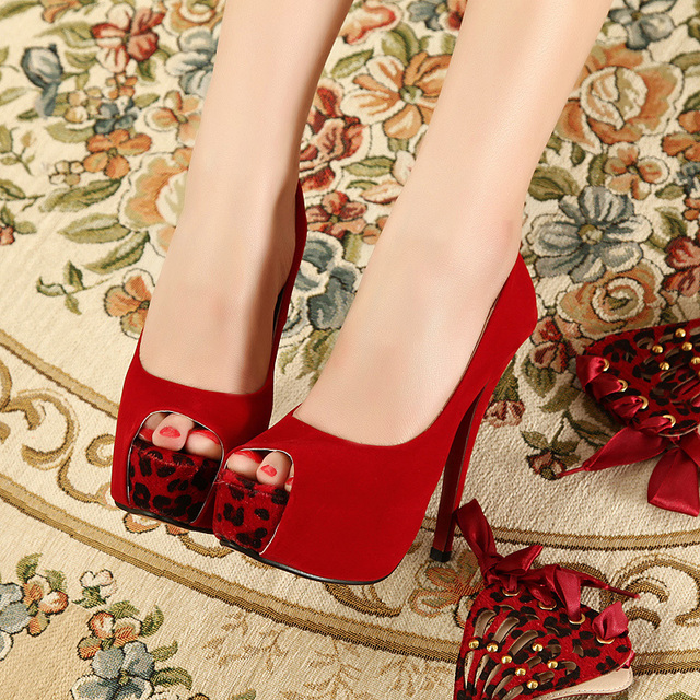 Sexy Removeable Leopard Grain Strappy High Heels Platform Peep Toe Women  Pumps Ladies Bedroom Foreplay Flirts