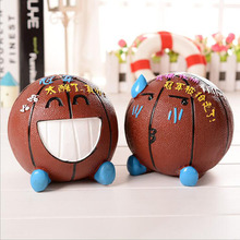 Creative Resin Basketball Crying Expression Piggy Bank Home Desktop Craft Decoration
