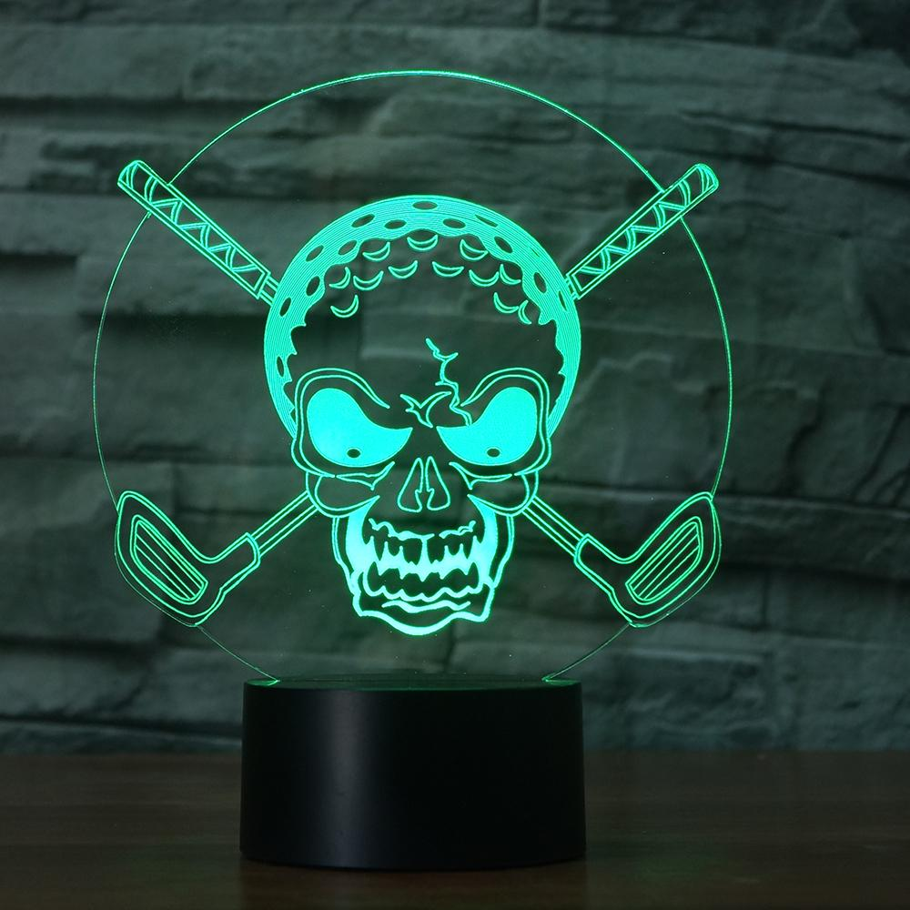 7 Colors Changing Gradient Awesome Golf Ball Skull Night Light 3D LED Desk Table Lamp Bedroom Bedside Lighting Home Decor Gifts