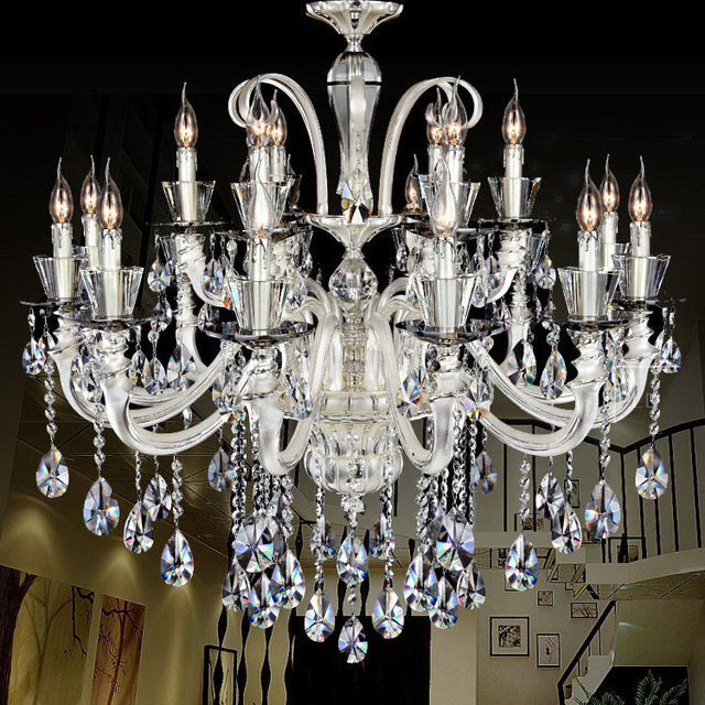 Silver Arms Luxury Crystal Chandelier Candle Holder 18 Lights Vintage Villa Duplex Building Hotel