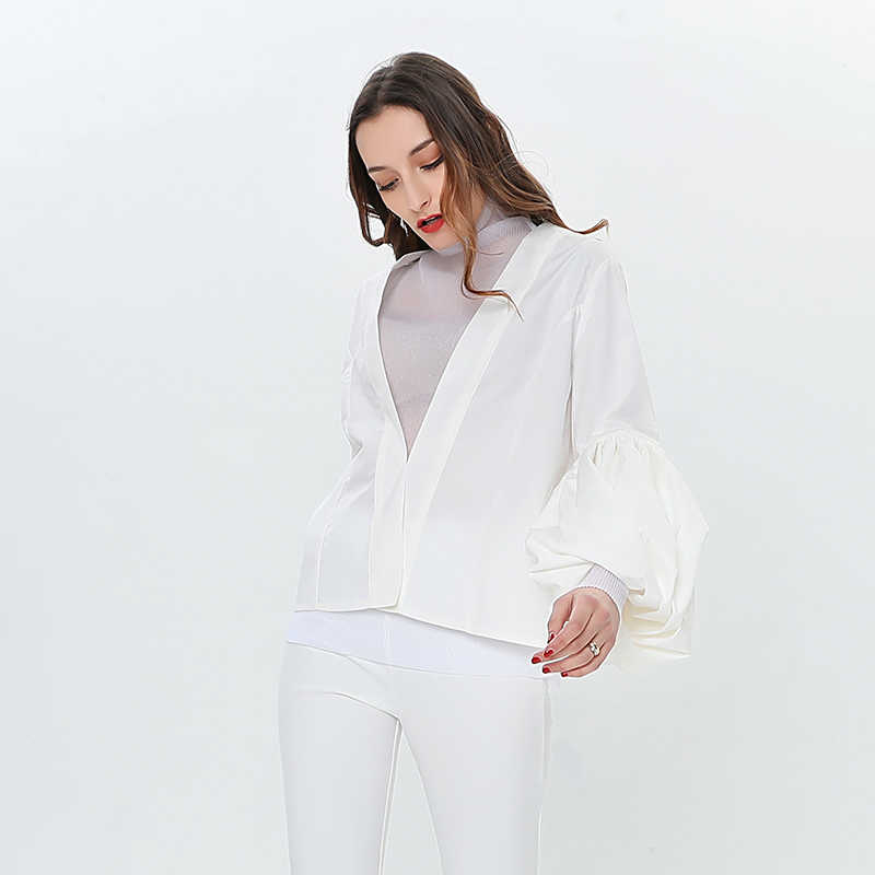TWOTWINSTYLE Lantern Sleeve White Shirt Blouse Women V Neck Long Sleeves Shirt Tops Female Casual Korean 2019 Fashion Spring
