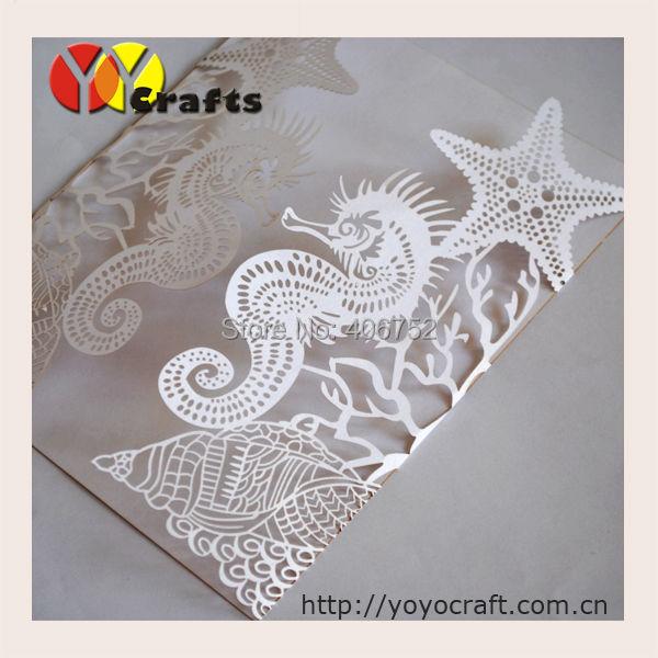 laser cut beach invitation wedding supplies sea horse fancy wedding cards