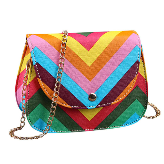 Striped Leather Cross Body Bag