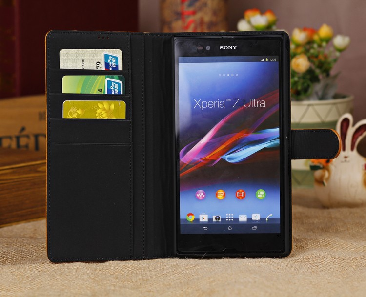 new products 998c4 51422 US $16.65 |100% Genuine Leather Flip Cover Case for Sony Xperia Z Ultra  XL39H C6802 C6806 C6833 6.4'' Top Quality Stand Wallet Phone Cases on ...
