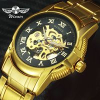 Luxury Brand Man Automatic Watch Mechanical Steampunk Watches Skeleton Golden Stainless Steel Strap Casual Dress Wristwatch Mens