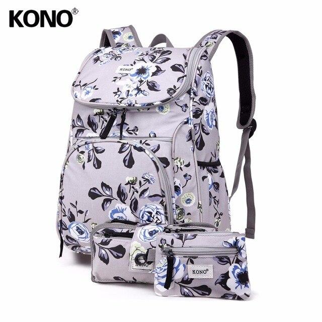 KONO 3 Pieces School Bags for Teenage Girls Women Flower Canvas Big  Backpacks Laptop Padded Shoulder Rucksack Pencil Case E1743 3feca4b1e2