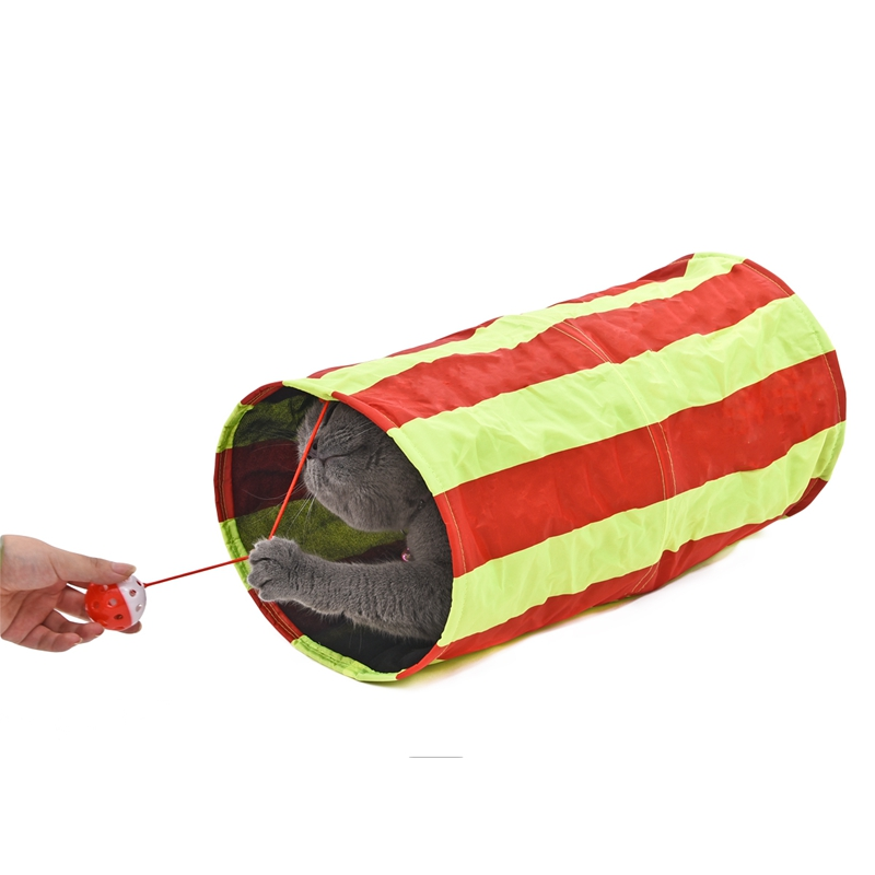 Mini Striped Pet Tunnel with Ball Cat Play Tunnel Funny Cat Long Tunnel Kitten Play Toy Collapsible Bulk Cat Toys PlayTunnel