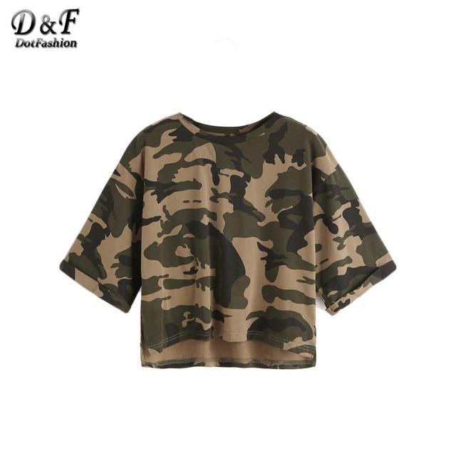 Dotfashion Лето Для женщин Китайский Стиль мода футболка оливково-зеленый камуфляж печати высокая низкая Половина рукава Crop футболка
