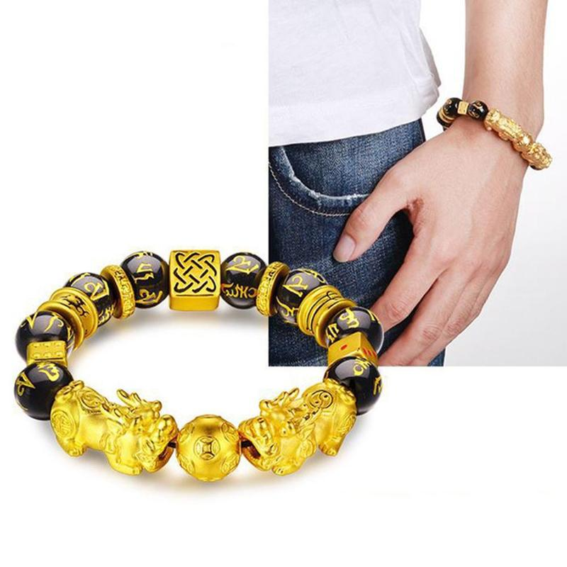 Golden PIXIU Bracelet for Women Men Beads Couple Bracelet Bring Lucky Brave Wealth Feng Shui Bracelets Gift