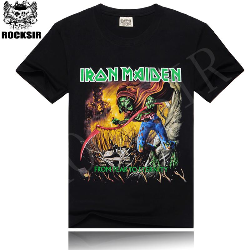Fashion Iron Maiden <font><b>From</b></font> <font><b>Fear</b></font> <font><b>To</b></font> <font><b>Eternity</b></font> Band Black Summer Mens t shirt Metallica Cotton Streetwear Short Sleeve Men's T-shirts