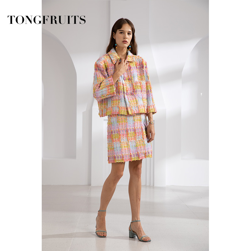 Female 2 Pcs/Set Autumn New Temperament Plaid Lapel Double Breasted Suit Jacket + Dress Elegant Casual Runway Women's Suit