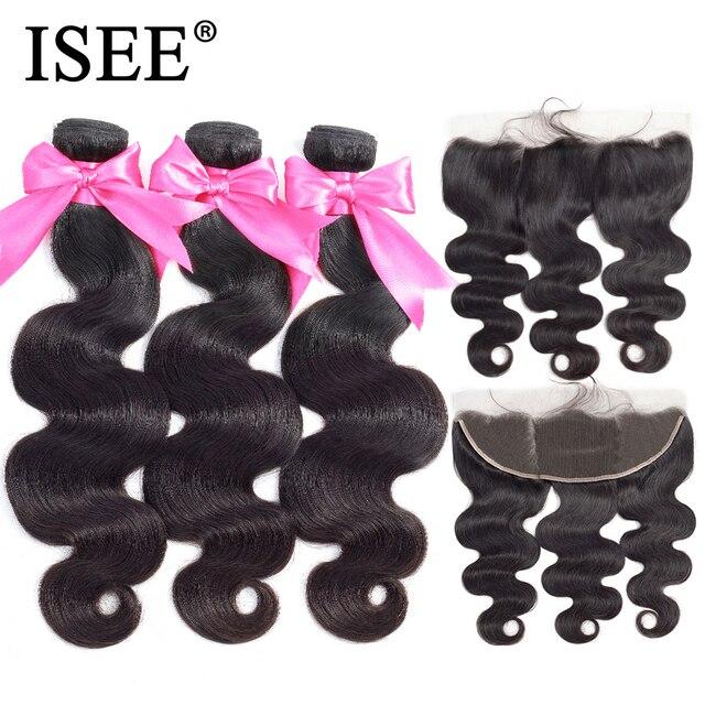 מלזי גוף גל חבילות עם חזיתי רמי שיער טבעי חבילות עם פרונטאלית 13*4 ISEE שיער Weave חבילות עם סגירה