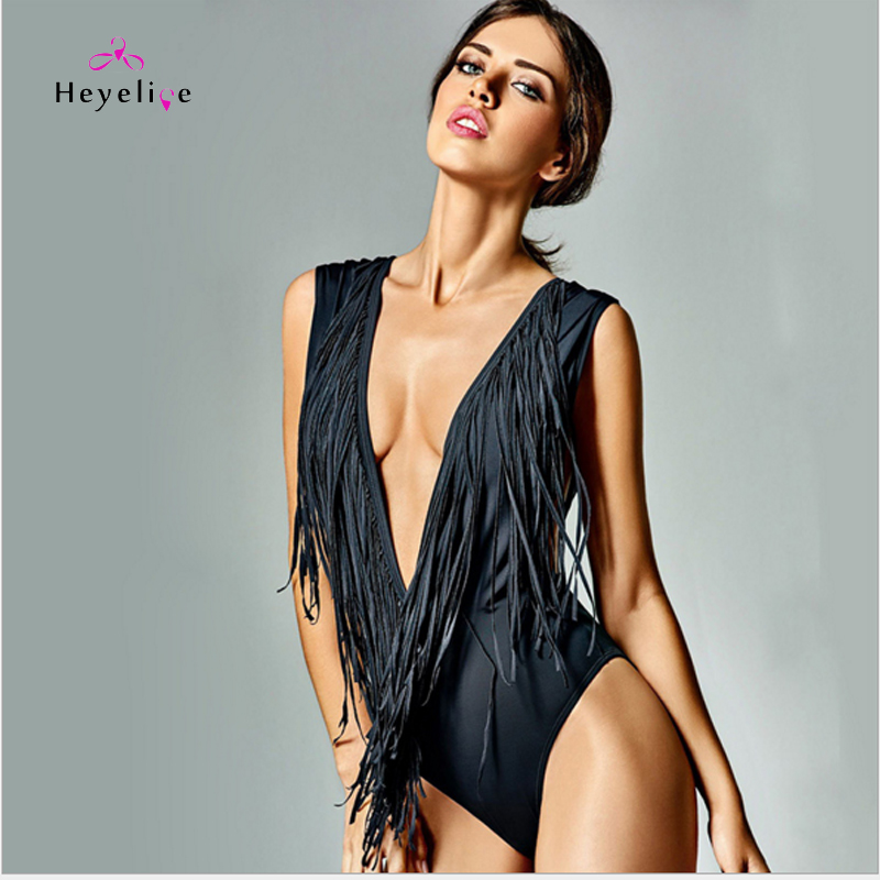 Sexy Tassels One Piece Swimsuits For Women Black Deep V Neck Swimwear Bathing Suits Backless Monokinis High Cut Bodysuit Trikini 2017 brand sequin bathing suits sexy one piece swimsuit high waist swimwear women cut out bodysuit monokinis bk491