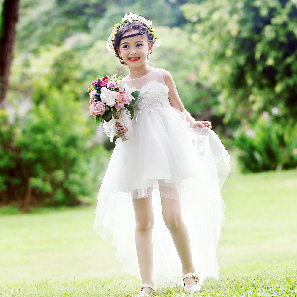 Summer girls wedding dress toddler tutu princess dresses baby girl clothes mesh party formal clothing children 3 9 12 age kids girl new party dress summer 2017 wedding tulle princess children ball clothing girls clothes toddler kids dresses size 6 7 8
