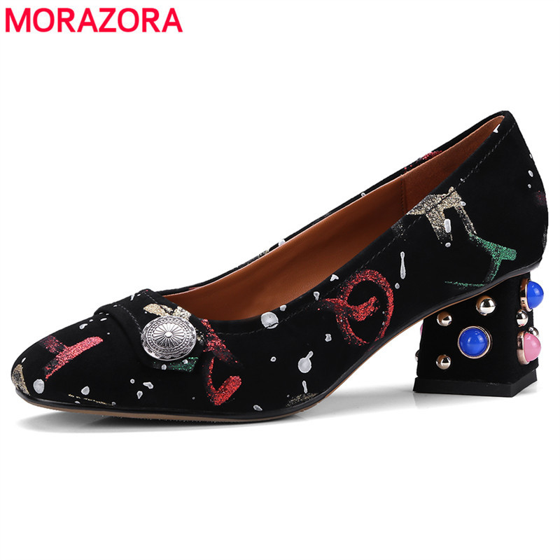 MORAZORA Size 34-43 New 2018 fashion women pumps square mid heel Kid suede leather high heels ethnic ladies party wedding shoes newest 3 7 color light photon led facial mask skin care rejuvenation wrinkle acne removal face beauty instrument eu us plug