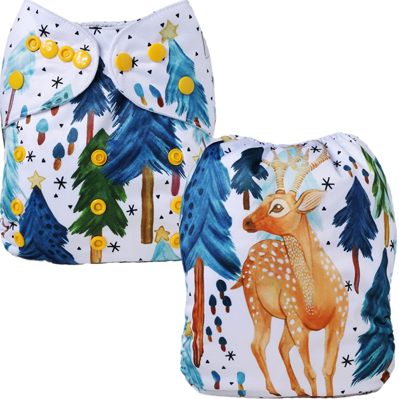 [Mumsbest] New Baby Christmas Diaper Positioned Digital Cloth Diapers Cover Babies Christmas Gift Washable Cloth Nappy Pocket