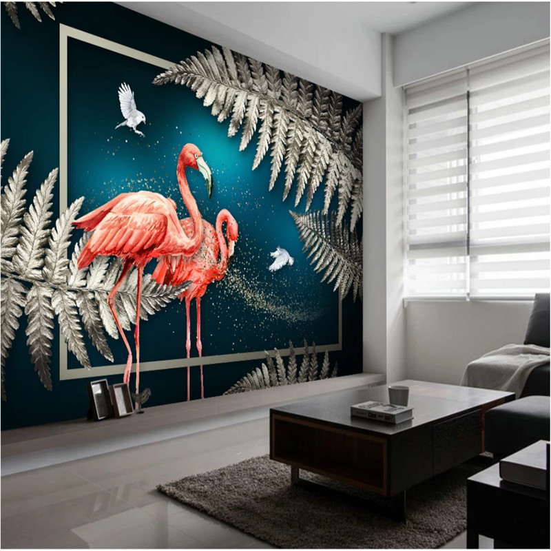 Us 11 49 45 Off European Hand Painted Luxury Home Decor Wall Paper 3d Silver Gray Tropical Plant Leaves Flamingos Dark Blue Mural Wallpaper 3d In